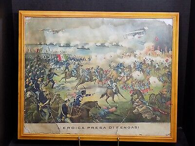 Rare Art Print Antique Italy Ottoman War First Aircraft in Battle w Horses Ships