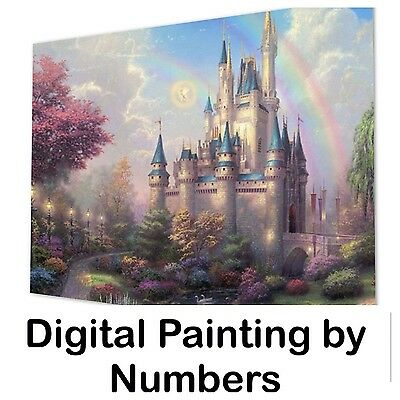 "20x16"" Digital Paint By Number Kit. Fabric Canvas & 27 Colours. Art Picture Gift"