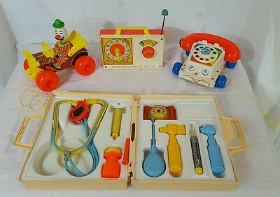 4  VINTAGE FISHER PRICE TOYS Medical Kit,Pull Clown,Hickory Dickory Clock,phone