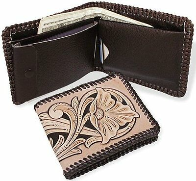 BROWN Deluxe BILLFOLD KIT 4049-02 Tandy Leather Craft Wallet Passport Case Kits