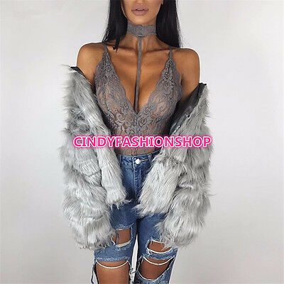 USA Women Ladies Halter Bodysuit See Through Playsuit Body con Rompers Jumpsuit