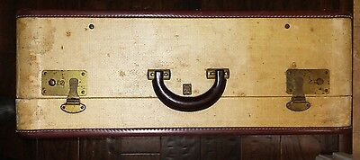 "Vintage Tweed w/Leather Trim US Trunk Co Suitcase Luggage 24"" W X 9"" D X 18 1/2L"