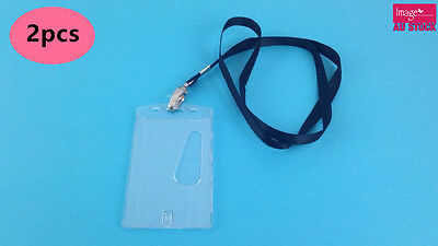 2pcs Neck Strap Cord Lanyard Name Card ID Badge Tag Holder School Office TOMS715
