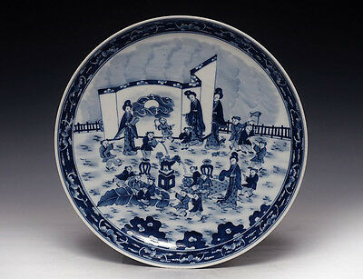 Chinese Qing Kangxi Blue And White Porcelain Plate Porcelain Dish Marked Na222