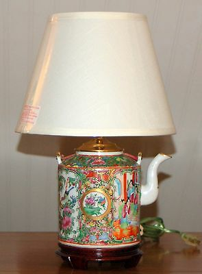 Antique Chinese Rose Medallion Teapot Lamp Qing 19th C Porcelain