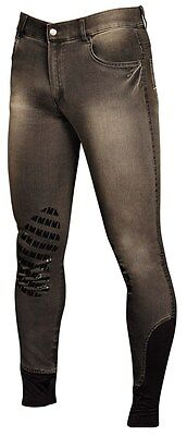 Riding breeches Jeans denim MD Harrys Horse Men's Silicone Knee grey Grip