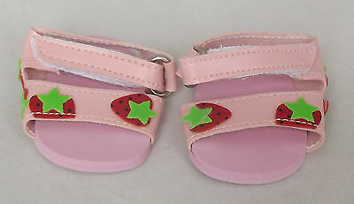 Pink Strawberry Sandals, Doll Shoes 4 Zapf Baby Born / Baby Alive