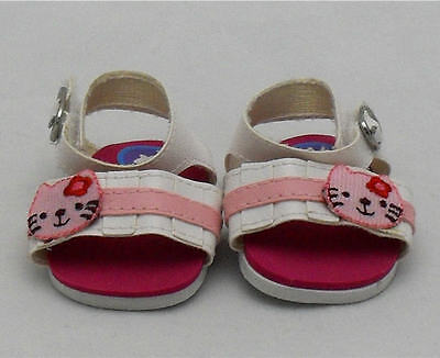 Pink / White Kitty Sandals, Doll Shoes 4 Zapf Baby Born / Baby Alive