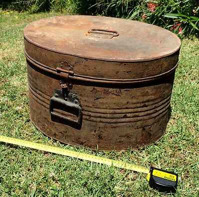 Vintage Hat Box Metal LARGE with Hinged Lid and Latch - RUSTIC Container