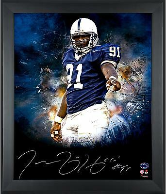 Autographed Tamba Hali Penn State Nittany Lions Framed 20x24 In Focus Photo