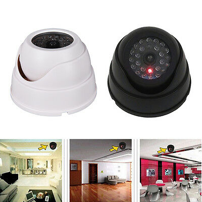 Dummy Fake Surveillance Security Dome Camera Flashing LED Light White HU
