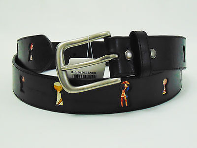 Leather Island by Bill Lavin Tribute to Pin Up Girls Black Leather Belt Sz 40