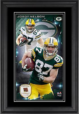 Jordy Nelson NFL Green Bay Packers Framed 10x18 Photo w/ Game-Used Football - LE