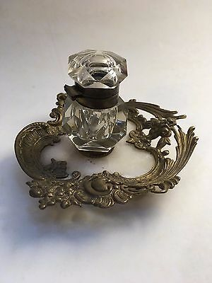 Inkwell, French 40s Style Baroque Louis Fifteen marble and copper body
