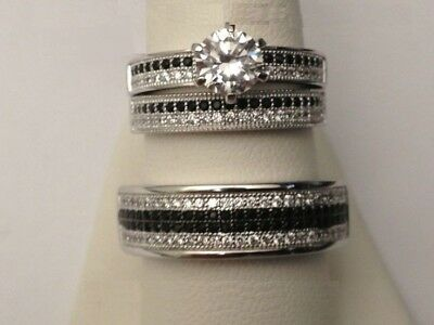 His And Her Diamond & 10K White Gold Trio Set Wedding / Engagement Ring Jewelry