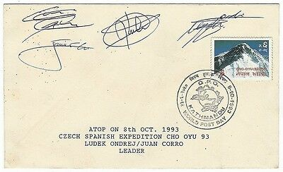 Himalaya – Czech Spanish 1993 Cho Oyu Expedition cover signed by 4 members