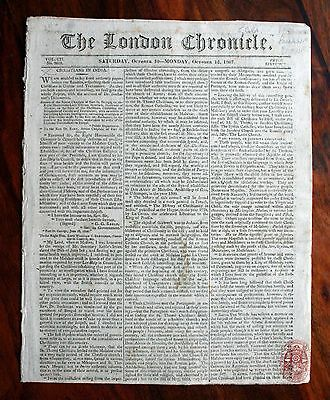London Chronicle Original Newspaper October 1807 Napoleonic Wars St Petersburg