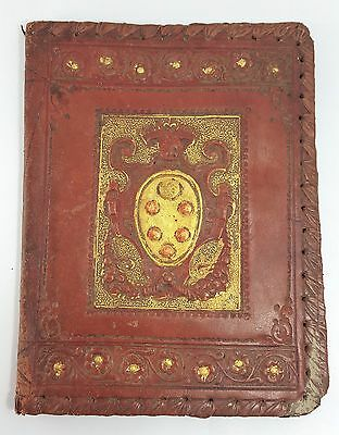 Vintage Italian Hand-Tooled Medici Book Cover Gold Trim Lined Gorgeous!