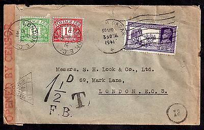 India 1941 KGVI Censored Cover to UK with Postage Dues (faults) WS2935