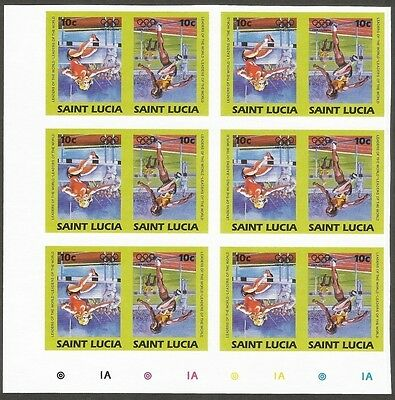 St. Lucia 1984 Olympics 10c ATHLETICS imperf block of 12 CENTER INVERTED MNH
