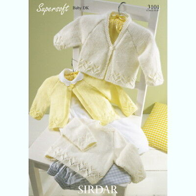 Sirdar Baby Knitting Patterns Cardigans Sweater 3101 - Supersoft Baby DK