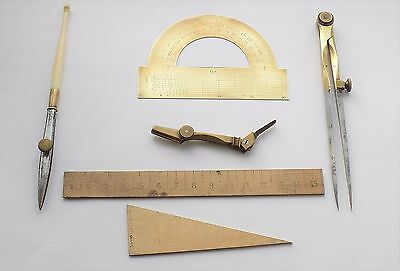 Collection Of Antique Drawing Instruments.brass Protractor,dividers E.c.t.