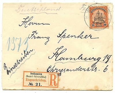 DSWA Deutsch-Südwestafrika R Brief Bathanien Hamburg 1905