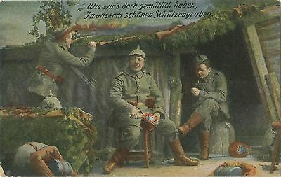 German WW1 Postcard, Soldiers, Trenches, Pickelhaube, 1917