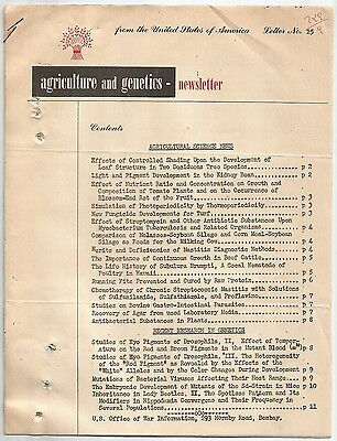 """""""Agriculture and Genetics"""" #25 1945 newsletter 11pgs"""