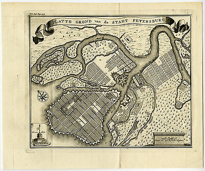 Antique Map-ST. PETERSBURG-RUSSIA-PLAN-Tirion-1750