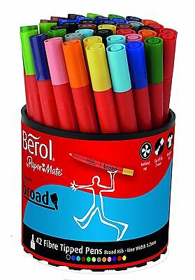 Berol Colour Broad Fibre Tipped Pen - Assorted Colours, Pack of 42 (S0375970)