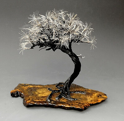 Bonsai Copper  And  Silver  Wire Tree  Art Sculpture  - 2244 - FREE SHIPPING