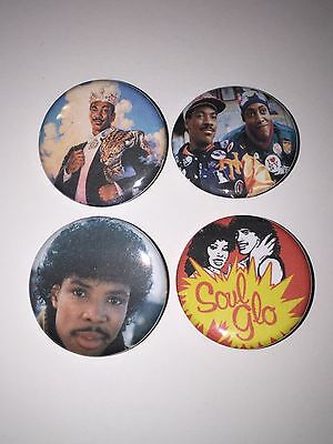 "Set of 4 1.25"" Buttons Eddie Murphy Arsenio Hall Soul Glo Coming To America"