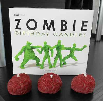 New Box of 4 Zombie Walking Dead Birthday Candles and 3 New Red Brains Candles