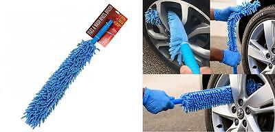 "Microfibre Car Wheel Wash Cleaning Brush Long Flexible Soft Head 16"" Reach (135)"