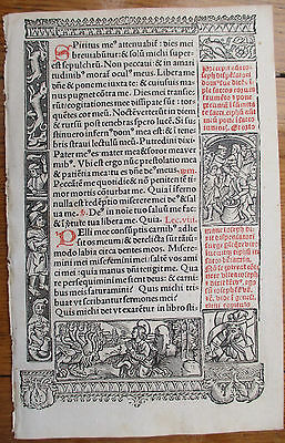 Book of Hours Leaf Hardouin Woodcut Border Apocalypse Dragon - 1510