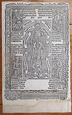 Book of Hours Leaf Hardouin Woodcut Border Miniature Skeleton Centaur - 1510