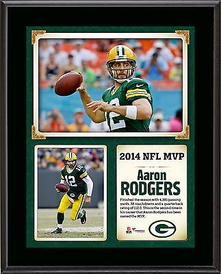 """Aaron Rodgers Green Bay Packers 2014 NFL MVP 10.5"""" x 13"""" Sublimated Plaque"""