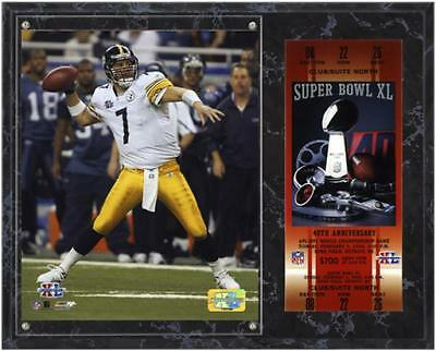 Pittsburgh Steelers Super Bowl XL Ben Roethlisberger Plaque with Replica Ticket