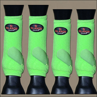 Medium Hilason Green Horse Front Rear Leg Protection Ultimate Sports Boot 4 Pack