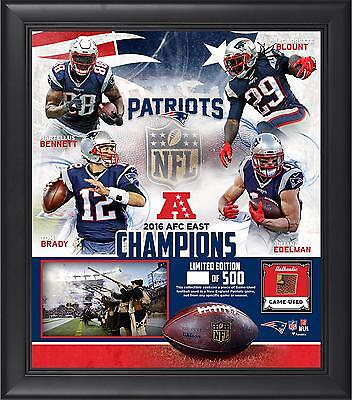 NE Patriots Framed 15x17 2016 AFC East Division Champs Collage w/Game Ball Piece