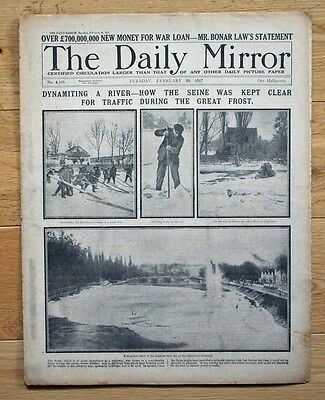 Ww1 Daily Mirror Feb 20 1917 Dynamiting The Seine To Keep Clear For Traffic