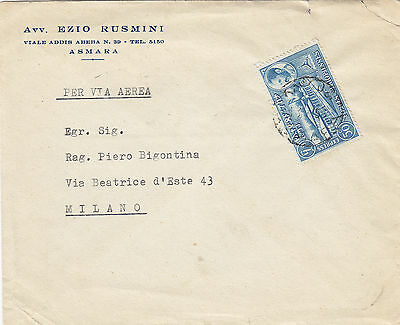 ETHIOPIA ERITREA (52)  1956  cover st. air mail to ITALY