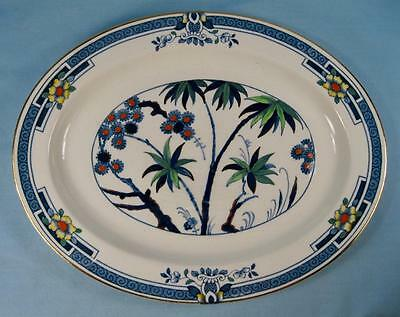 Kenya Blue Serving Platter Wood Sons Oval Small 11 in. Woods Hand Painted (O4)