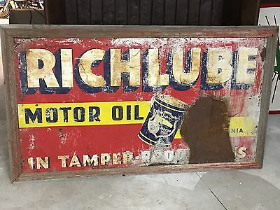 RARE Early Vintage RICHLUBE MOTOR OIL Sign GAS Station Mavcave Barn PATINA! OLD