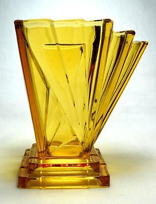 Art Deco Bagley Glass Asymmetrical Grantham Vase, 1930s