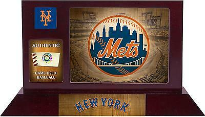 NY Mets Framed Team Logo Desktop Display With A Piece Of Game Used Baseball