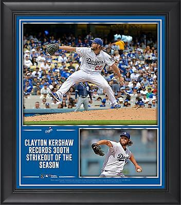 Clayton Kershaw LA Dodgers Framed 15x17 300 Strikeouts in a Season Collage