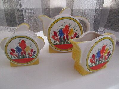 Staffordshire Moorland Deco Design Crocus Pattern Tea Pot Milk And Sugar Set