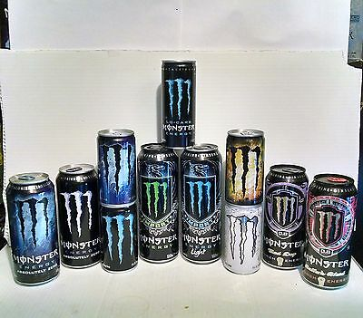 Lot of 11 Discontinued / Rare Monster Energy Collectible Cans - Empty